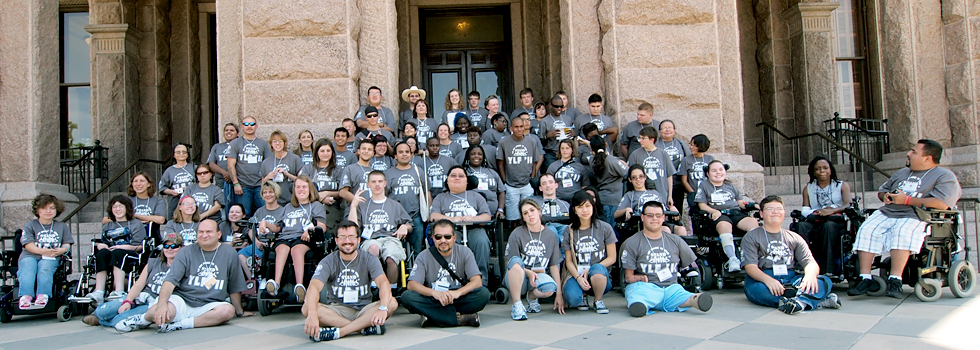 Youth Leadership Forum participants pose in front of the Texas Capitol